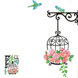 Wholesale Vinyl Wall Flower - Wholesale- Cage flower bird Lovely Window Handdrawing Decal Vinyl Wall Sticker PVC Decor Decoration Free Shipping