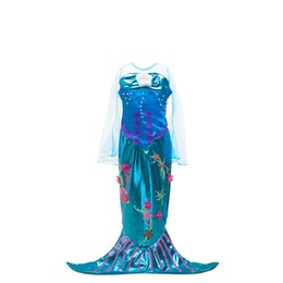 Wholesale Carnival Costumes For Kids - Girls new mermaid dress lace sleeve splicing princess dress sea horse sea-plant printing kids party performance cosplay costume for 3-8T
