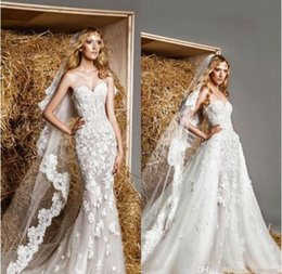 Wholesale Zuhair Murad Modest Gowns - Zuhair Murad New Lace Modest Wedding Dress With Detachable Train 2016 Sexy Over Skirts Sweetheart Royal Princess Vintage Style Bridal Gown