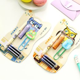 Wholesale Novelty Paper Clips - Wholesale-Novelty Colorful Owl Fountain Pen with Paper Clip Stationery Set Student Prize FOD B-028