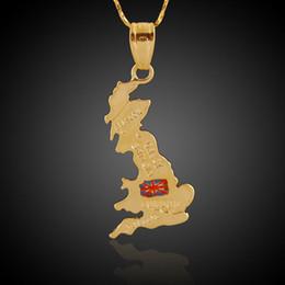 Paesi Mappa Tema Ciondolo Regno Unito Inghilterra Gran Bretagna 18 carati placcato oro reale Charms rendendo uomini donne collane risultati dei monili da gioielli realizzati in ottone fornitori