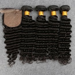 Wholesale Rosa Hair Products - Malaysia Deep Wave Virgin Human Hair With Silk Closure 4 Bundles With Silk Closure Slove Rosa Products Popular Type In Summer