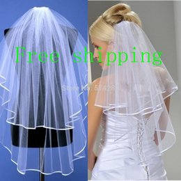 Wholesale Wedding Veils Free Delivery - Wholesale-Free Shipping Whole Sale In Stock 2 Tiered Bridal Wedding Veil With Ribbon Edge Hot Sale Fast Delivery