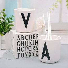 Wholesale Orange Safety Lights - Wholesale- White Children Milk Cup Letters Cups Safety Melamine Baby Fedding Drinking Cup Modern Home Decor Tableware Dishes Coffee Mugs