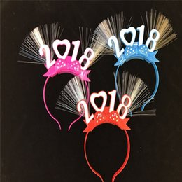 Wholesale Headbands Party Supplies - Number 2018 Shaped LED Blinking Flashing Fiber Headband Disco Toys Christmas New Year Glow Party Supplies ZA5027