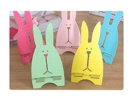 Wholesale Diy Cell Phone Decorations - Funny Fashion Cute Multicolor Rabbit Cell Phone Holder Wood Support Stand Desktop Decoration DIY mobile phone Holder