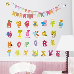 Wholesale Cartoon Toilet Paper - 26 English Letters Wall Stickers for kids Room Liivingroom Free Shipping Removable Paper Decorative Stickers for Home Decor PVC
