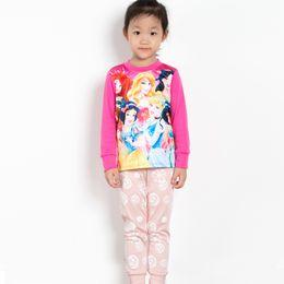 Wholesale Cotton Red Pajamas For Kids - Fashion Frozen Pajamas For Girls Baby Children Kids Elsa And Anna Olaf Snowflake Print Cotton Sleepwear Set Cartoon Pajamas Sets 6 sets