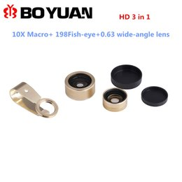 Wholesale Magnetic Wide Angle Macro Lens - Wholesale-Magnetic Clip 198 degree Fish-Eye +Wide Angle +Macro Lens 3-in-1 Mobile Cell Phone Lens Easy-Use Camera Lens For iPhone 5 6 6S