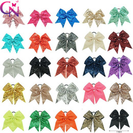Wholesale wholesale cheer bows - 7 inches Solid Ribbon Cheer Bow For Girls Kids Boutique Large Cheerleading Hair Bow Children sequined Hair Accessories