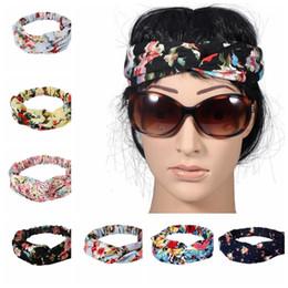 Wholesale Turban Twist Headwrap - Twist Turban Floral Headband Prints for Women Stretch Hairbands Sport Headbands Yoga Headwrap Bandana Girls Hair Accessories KKA2680