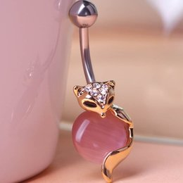 Wholesale Red Crystal Ring Opal - 3pcs lots 2016 New Arrival opal fox Animal Navel Ring 316L Steel Plug Belly Button Ring Sexy Body women Jewelry