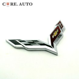 Wholesale Carbon Fiber Wing - Metal Checker Crossed Flag Emblem Car Side Wing Fender Body Sticker for Chevy Corvette Colorado Cobalt Silverado Impala Badge