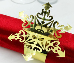Wholesale Paper Napkin Rings Wedding - 240pcs Laser Cut Hollow Snowflake Paper Card Napkin Ring Serviette Buckle Holder Hotel Wedding Party Favour Decoration