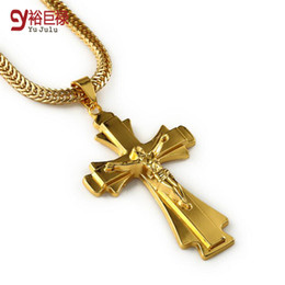 Wholesale Hot New Mens Chain Necklace - 2015 Hot New Gold Plating Color Retention Boutique Hip-hop Faith Necklace Classic Pendant Mens Necklace Jewelry For Men Cross Necklace