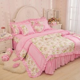 Wholesale Ruffle Pillow Case - PINK girls home princess bedding 4pcs set cotton rose florwer duvet cover kit pillow case king queen size hotel bedding sets free shipping