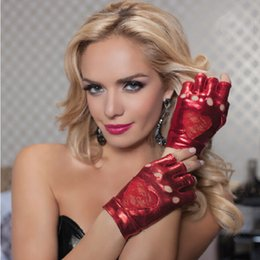 Wholesale Sexy Short Leather Gloves - Black red Sexy lady Disco dance costume party lace fingerless short leather gloves free shipping wholesale