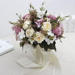 Rosa, fúcsia buquês de noiva flores do casamento com marfim fitas de alta qualidade acessórios do casamento 2017 nova chegada de Fornecedores de buquê de chocolates