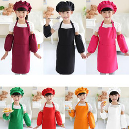 Wholesale Wholesale Children Aprons - Kids Aprons Pocket Craft Cooking Baking Art Painting Kids Kitchen Dining Bib Children Aprons Kids Aprons 10 colors Free Shipping