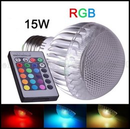 Wholesale Led Bulb Rgb E27 15w - E27 RGB LED Lamp 15W 110V 220V LED RGB Bulb Light Christmas Decoration With Remote Control multiple colors LLWA204