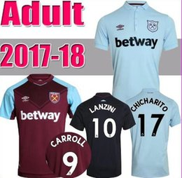 Wholesale Red Ham - New 17 18 West Ham United jerseys 2017 2018 NOBLE FEGHOULI CARROLL SAKHO A.AYEW CHICHARITO LANZINI home away 3rd Sports shirts