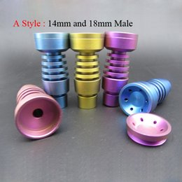 Wholesale T Female Adjustable - Colorful Titanium Nail Adjustable GR2 Domeless Titanium Nails T-001 T-003 14mm and 18mm Male or Female Joint for Smoking Pipe