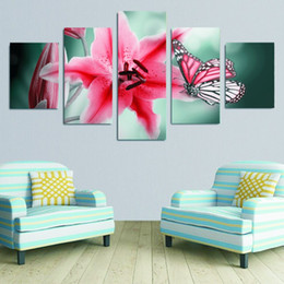 Wholesale Big Beautiful Homes - 5 panels of beautiful big flower with butterfly Painting Canvas wall Paintings for home Decor High-quality unframed free shipping