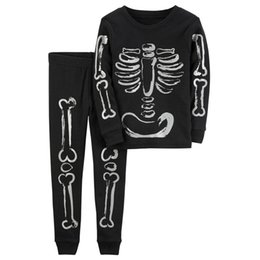 Wholesale Pajamas Suit For Kids - Wholesale 2017 Kids Boys Halloween Clothing Baby Two Pieces Sets Children Autumn Suits Long Sleeve Skull Pajamas For 2-7T