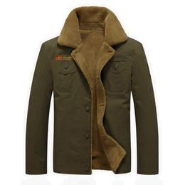 Wholesale Mens Wool Military Coats - Winter Bomber Jacket Men Air Force Pilot MA1 Jacket Outerwear Cotton Thick Fur Collar Warm Military Tactical Mens Jacket Coat 5XL