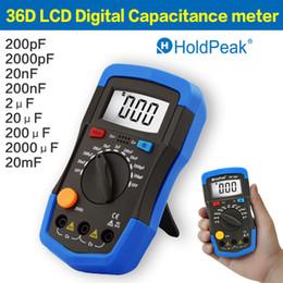 Wholesale Multimeter Capacitor - HoldPeak Mini Multimeter LCD Digital Capacitance meter Capacitor Tester pF mF Circuit Gauge 36D Back Light