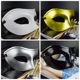 Wholesale Venetian Gifts - 4 Colors Men Masquerade Masks Fancy Dress Venetian Masks Plastic Half Face Mask Halloween Party Christmas Gift Party Masks CCA7658 100pcs