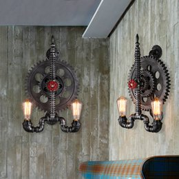 Wholesale wholesale iron pipes - New High Quality Loft Creative Iron Industrial Gear Retro Wall Lamp Water Pipe Wall Light Bar Cafes Restaurant Corridor Gear Wall Lights