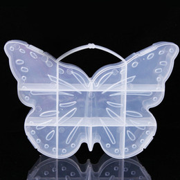 Wholesale Butterfly Shaped Case - Large Butterfly Shape Compartment Plastic Transparent Storage Box Case Jewelry Bead Sundries Organizer Handle Container ZA4699