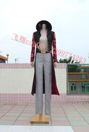Wholesale Hawk Eyes - Japanese Cartoon Anime cosplay ONE PIECE Hawk Eyes MIHAWK Cosplay costume Hat + cloak + Pants + Belt option for shoes