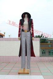 Wholesale Option Shoe - Japanese Cartoon Anime cosplay ONE PIECE Hawk Eyes MIHAWK Cosplay costume Hat + cloak + Pants + Belt option for shoes