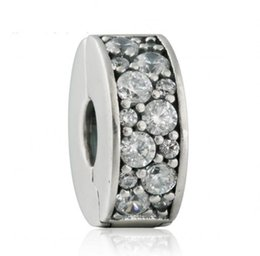 Wholesale Silver Charm Bracelet Stopper Beads - 2017 New Shining Elegance Clip Charm Bead Fits Brand Bracelets 925 Sterling Silver Pave AAA Clear CZ Stopper Beads DIY Pandora Jewelry HB647