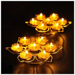 Wholesale Metal Candle Lamp - Butter Lamp Holders Buddha Candle Holders ,Monolayer ,Lotus Shape ,With Seven Holders (Without Candles ),Buddha Supplies