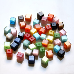 Wholesale 6mm Cube - 5601 300PCS Lot New Arrival Cat Eye Beads Square Cube Shape 6MM MY66 DIY Jewelry Beads Wholesale Free Shipping
