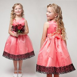 Wholesale Childrens Special Occasion Clothing - 2017 Girl Childrens Dresses Sleeveless Summer Rose Princess Dress for Girls Kidss Clothing Special Occasions Dancewear Enfant Clothes