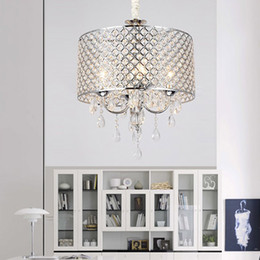 Wholesale modern silver crystal chandelier - Nordic American crystal chandelier lighting k9 led chandelier iron art Living room, dining room, bedroom light Modern