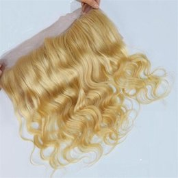 Wholesale Human Hair Closures Blonde - 9A Grade Peruvian Human Hair #613 Bleach Blonde Lace Frontal Closure 13x4 Free Middle Blonde Full Lace Frontal Pieces