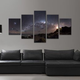 Wholesale Canvas Oil Painting Landscape Forest - 5 Panels Wall Art Picutre Star Night Forest Painting Canvas Prints Wall Pictures Landscape Home Decoration for Living Room Bedroom