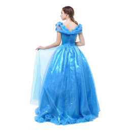 Wholesale Cinderella Costumes Adults - Womens Long Blue Layered Halloween Party Cinderella Dress for Adult