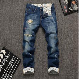Wholesale Denim Pants Large - New Arrival Fashion Mens Jeans Brand Casual Dark Blue Mid Denim Pants Large Size Straight Full Length Skinny Jeans Men Cotton