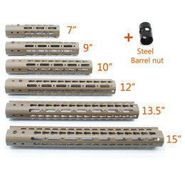 Wholesale Picatinny Rail Mount Handguard - 7 9 10 12 13.5 15'' inch Length Keymod Handguard Rail Free Float Picatinny Mount System Tan color Steel Barrel Nut