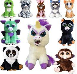 Wholesale Funny Cartoon Videos - Feisty Pets Funny Toys One Second Change Face Animal Plush Toys Cartoon Monkey Unicorn Stuffed Toy for Baby Christmas 15 design KKA3307