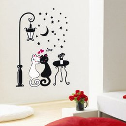 Wholesale Decal Love Moon - Love Cat Couple Street Lamp Moon Night Wall Sticker Decal Vinyl Art Home Decor