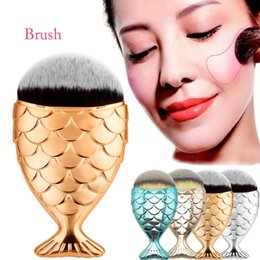 Wholesale Best Quality Makeup Brushes - Best Quality !! With Cap Mermaid oval brushes Foundation Brush Face Gold Cosmetics Blush Powder Makeup Brushes Set 6 colors