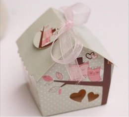 Wholesale Lovely Sweet Wedding Gift Box - lovely wedding owls sweet hollow house candy box wedding favor boxes high quality paper gift box