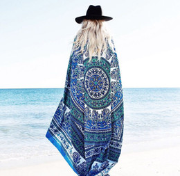 Wholesale Cotton Beach Sarongs - Beach Sarongs Shawl Indian Mandala Square Beach Throw Tapestry Hippy Boho Gypsy Cotton Tablecloth Yoga Mat Chiffon Beach Pad Sarongs